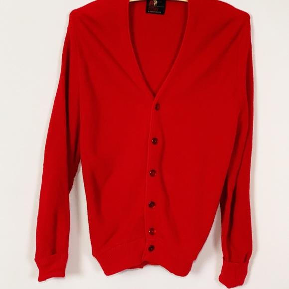 Arnold Palmer By Robert Bruce Sweaters Retro Mr Rogers Red Cardigan Grandpa Sweater Poshmark